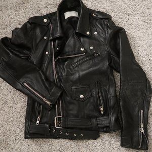 Deadwood recycled leather moto jacket - Small